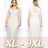Plus Size 6 7 8 9XL Women Long Lace Vestidos Large Size Evening Clothing Ladies Backless