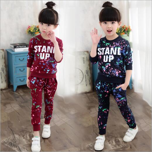Girls Sports Suits Graffiti Letter Children Clothing Sets For Girls Tracksuits Cotton Spring autumn Sportswear Outfits 4~12 year
