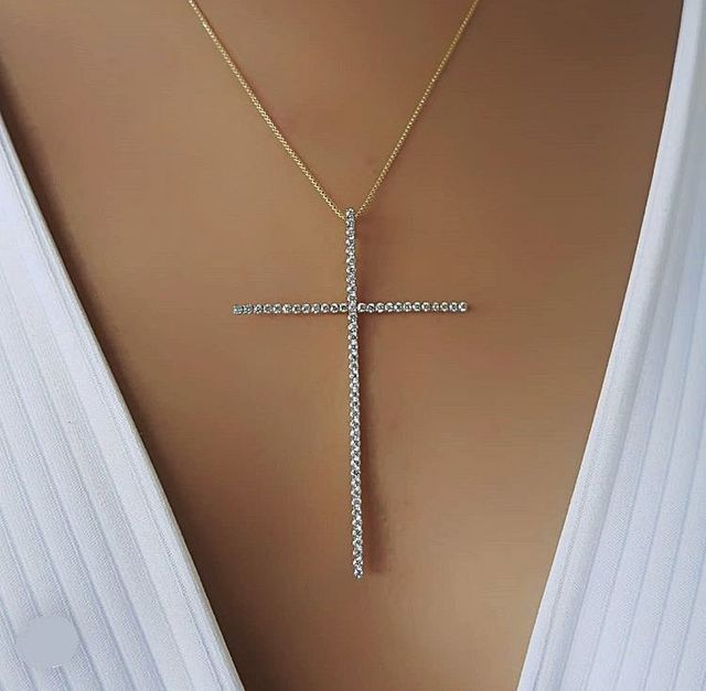 Classic large size Cross Pendant Necklace For Women Charm Jewelry Cubic Zircon stone Crucifix Christian Ornaments Accessories