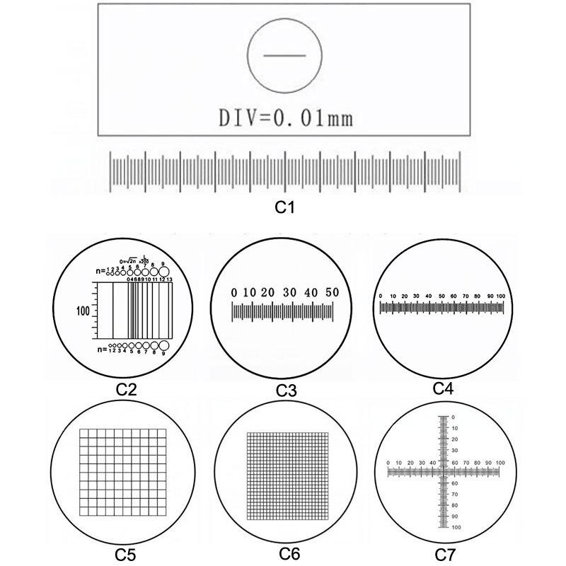 C1-C7 Vidros Ópticos Microscópio Lâminas De Calibração de Medição Governante Retícula Ocular Lente do Microscópio Stage Micrômetro