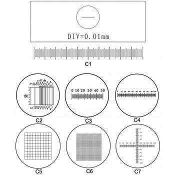 C1-C7 okulary optyczne mikroskop pomiar kalibracja slajdy okular siatka linijka mikroskop etap obiektyw mikrometr tanie i dobre opinie ZZCAT 500X i Pod Wysokiej Rozdzielczości PORTABLE Handheld Mikroskop biologiczny C1-C7 Microscope Eyepiece Ruler Optical Glass