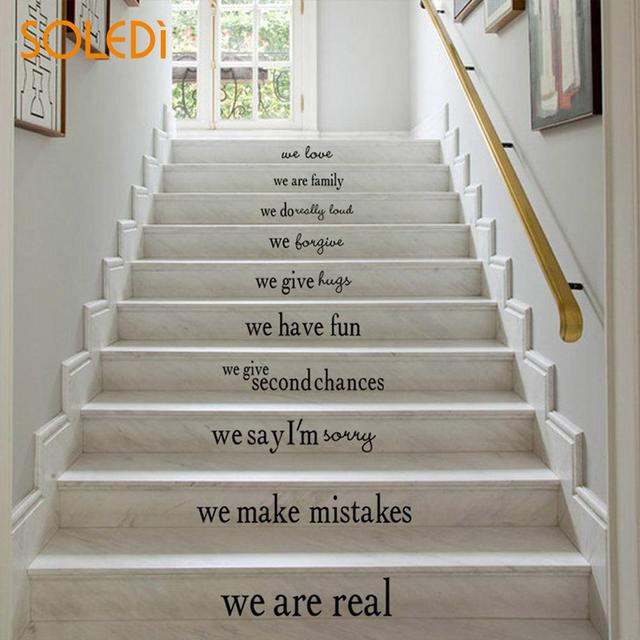 We Are Family Black Self Adhesive Creative Stair Riser Stickers PVC  Removable Mural Art Stair