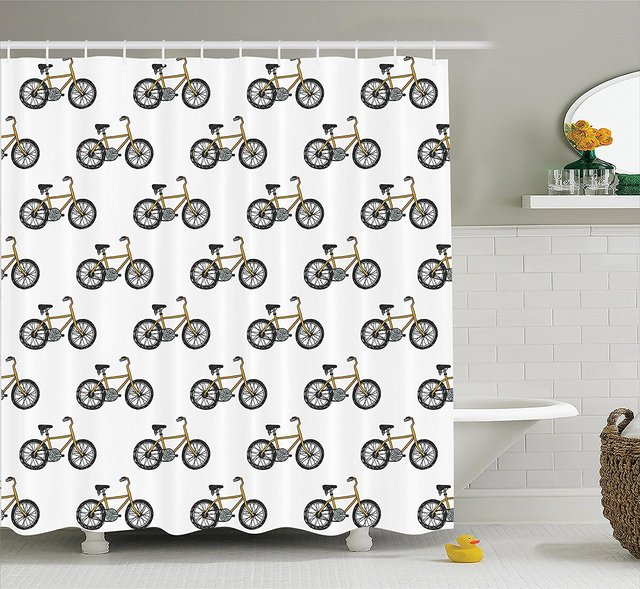 Bicycle Decor Shower Curtain Set Hand Drawn Doodle Cycling Theme Pattern Of Yellow Bike Leisure Hobby