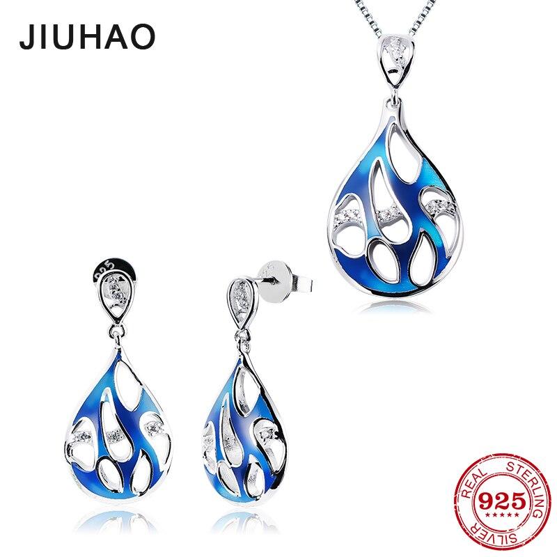 2018 Water drop shape jewelry sets Silver 925 Charms Blue Enamel CZ Stones Earrings Pendant Necklaces jewelry sets for Woman long chain enamel bird shape drop earrings