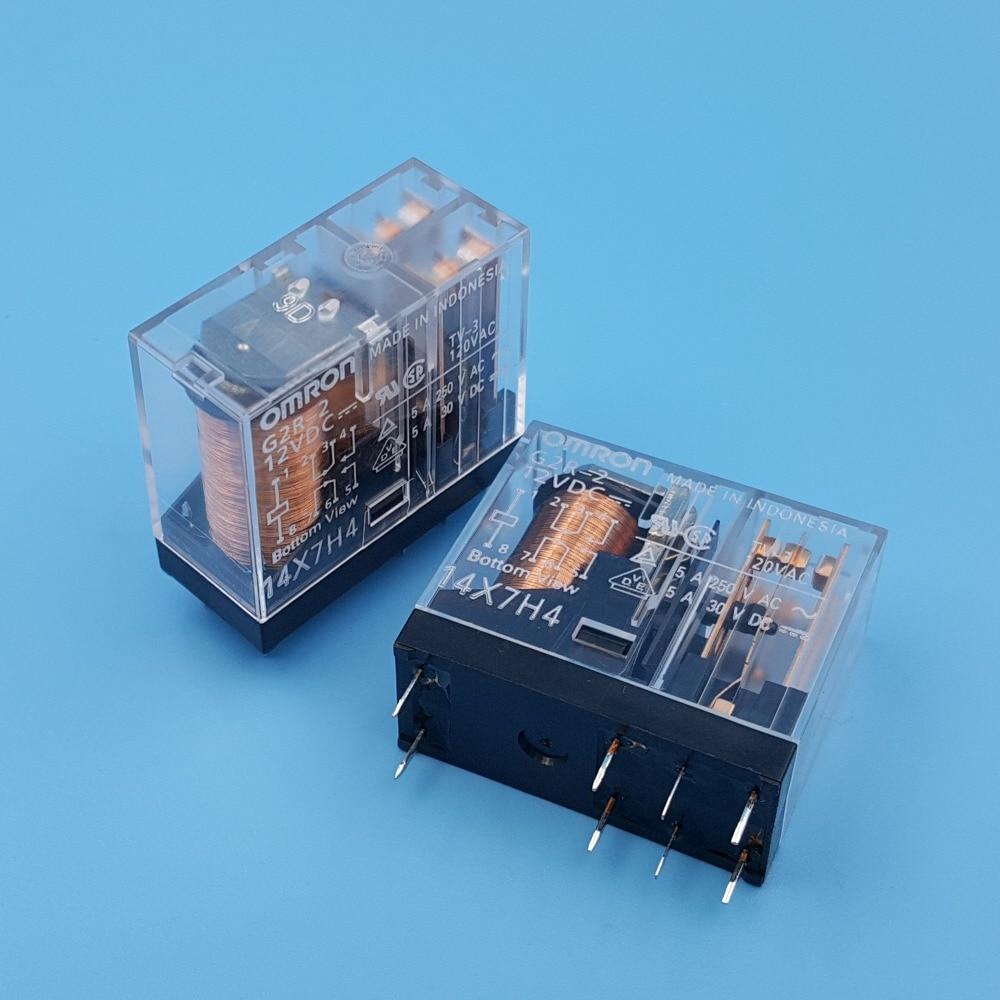 10Pcs Omron G2R-2 DC12V 24V 8Pin PCB Mount DPDT Power Relay 5A/250VAC