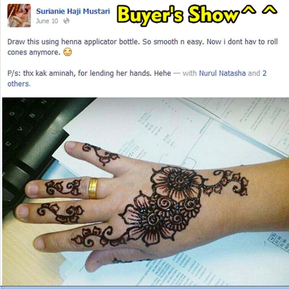 Nu-TATY Mehndi Svart Henna Tattoo Pasta Cone 3st / lot + Stencil - Tatuering och kroppskonst - Foto 6