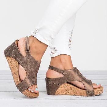 35aed8f870b Sandalias de plataforma zapatos de mujer 2019 cuñas de moda sandalias de  las señoras de Punta abierta zapatos de verano zapatos calzado de mujer  Sandalia ...