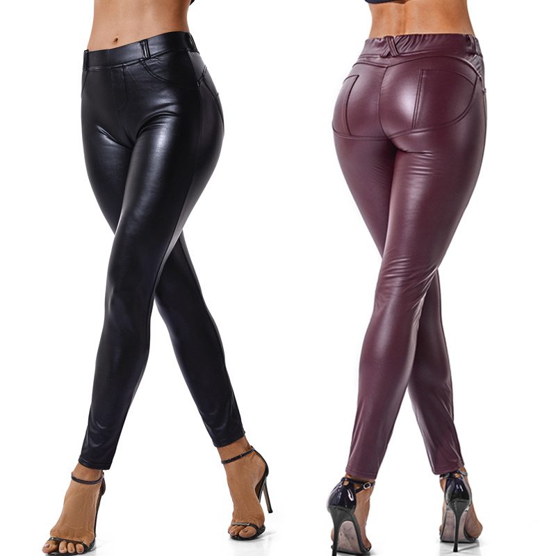 2019 Fashion PU Leather High Waist   Leggings   Women Sexy Hip Push Up Pants   Legging   Jegging Gothic Leggins High-quality Jeggings
