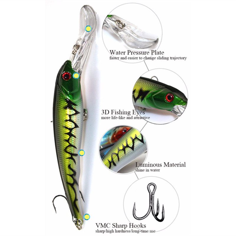 KKWEZVA 29G 16.5CM Big Game Fishing Lures Minnow Crank Bait Crankbait Bass Tackle Treble Hook agn wobblers fiske
