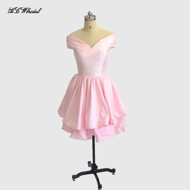 Pink Short Prom Dresses 2018 New Boat Neck Cap Sleeve Tiered Taffeta ...