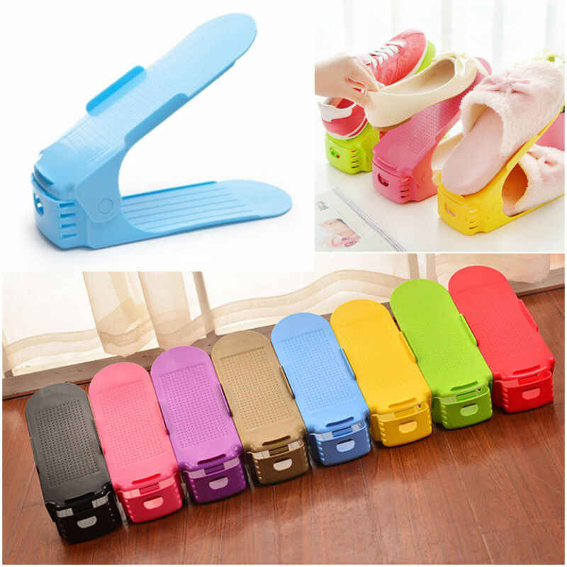 1PC Shoe Storage Stand Holders Shelf Rack Organizer Space Saver Holder Plastic Black Blue Yellow Purple Red Pink Green Khaki