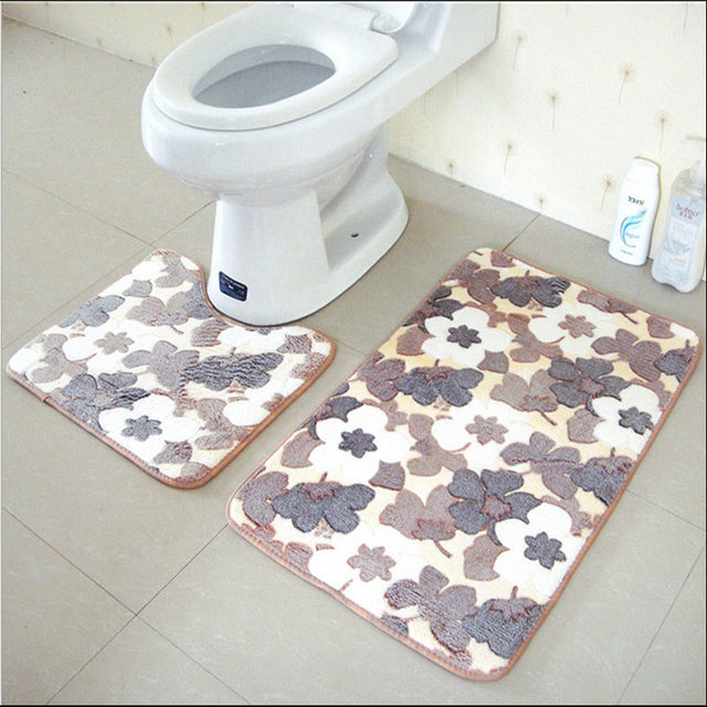 Online Shop 2 Stks/set Anti Slip Badkamer Mat Set Coral Fleece ...