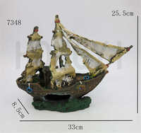 7348 Wreck Sunk Ship Aquarium Ornament Sailing Boat Destroyer Fish Tank Cave Decoration
