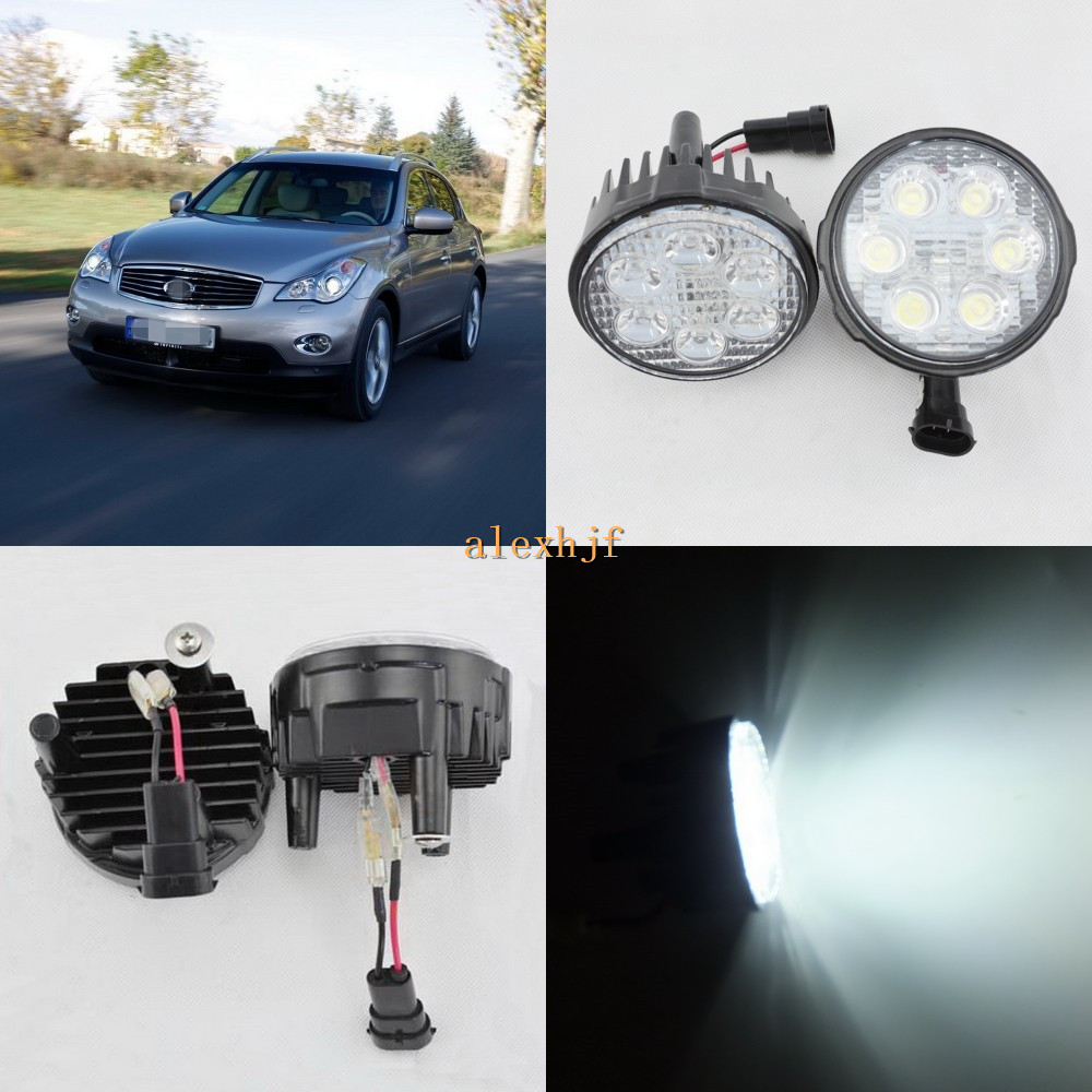 July King 18W 6LEDs H11 LED Fog Lamp Assembly Case for Infiniti EX30d EX35 EX37 2008~13, 6500K 1260LM LED Daytime Running Lights for infiniti fx35 37 45 50 ex35 37 h11 wiring harness sockets wire connector switch 2 fog lights drl front bumper led lamp
