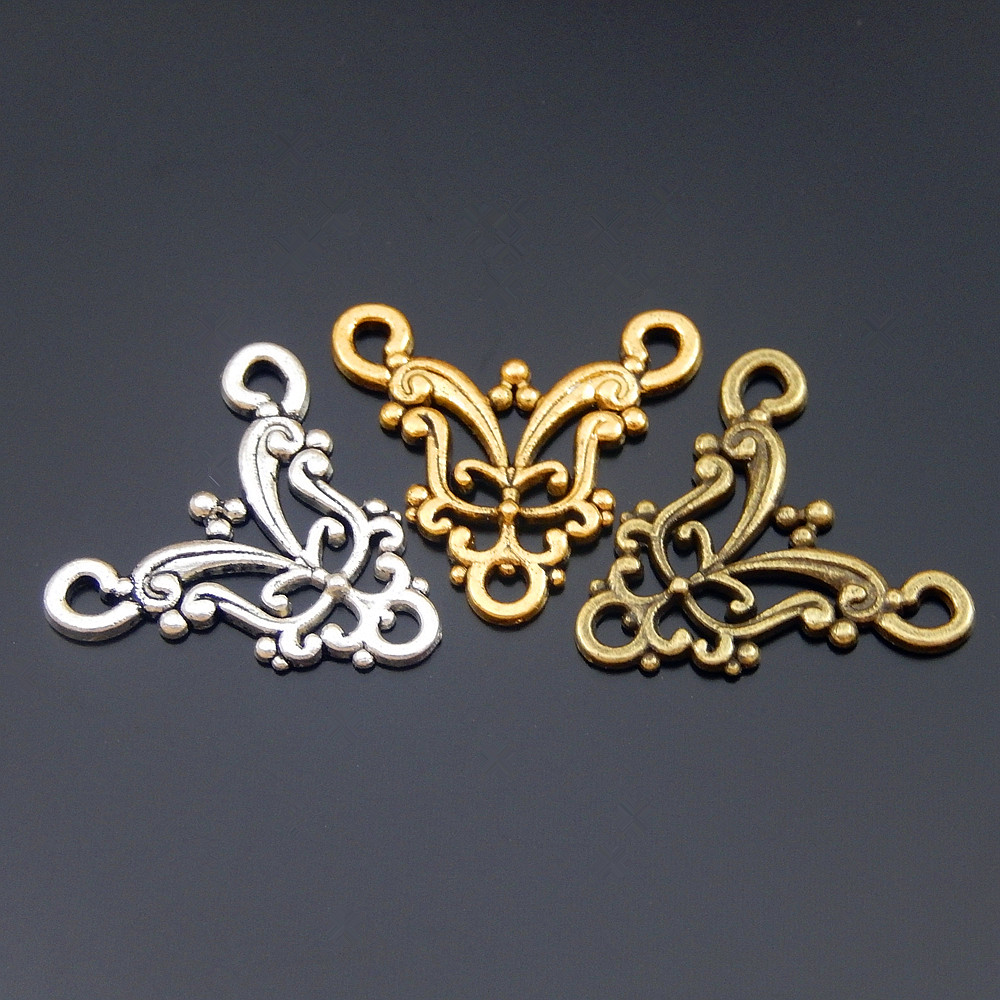 Top 15pcs/lot Mix Alloy Vintage Hollow Style Man Women Bracelet Necklace Pendant Connector 22*20mm Charms Jewelry Fine GR-723(China)