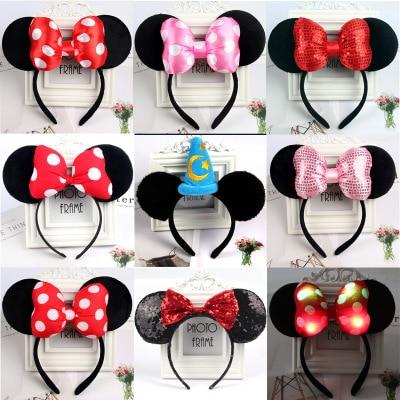 Mickey Minnie Cute Mickey Mouse Headband Pink Ear Headband Bow Hair Accessories For Birthday Party Celebration 2019
