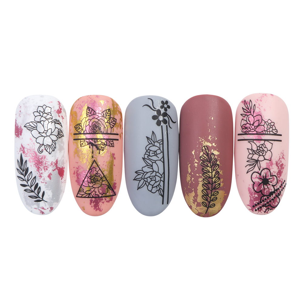 Image 2 - 12pcs Black Floral Butterfly Water Nail Stickers Hollow Design Nail Art Decal Water Transfer Slider Decor Manicure JIBN1189 1200-in Stickers & Decals from Beauty & Health