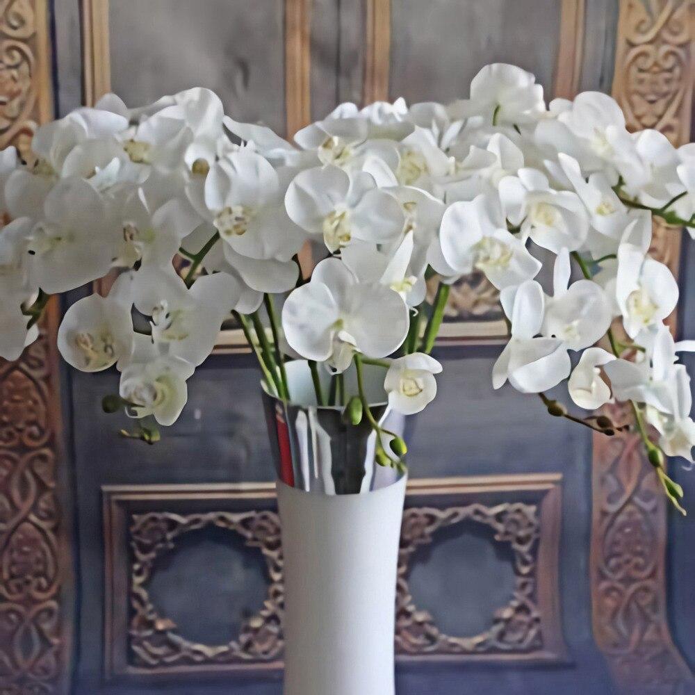 Искусственные цветы для декора, букет из шелковых цветов, фаленопсис на ощупь, искусственные цветы