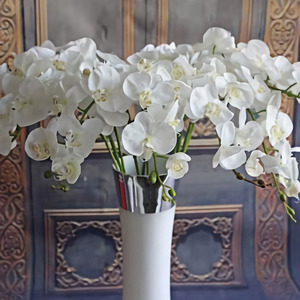 PATIMATE Artificial Butterfly Orchid Artificial Flowers For Decor Silk Flower Bouquet Phalaenopsis Real Touch Fake Flowers