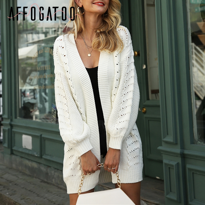 Affogatoo Casual Loose Women Long Cardigans Autumn Winter Hollow Out Female Knitted Sweater Office Ladies White Sweater Cardigan