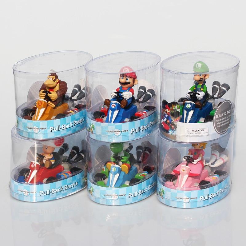 цена 6Pce/Lot Super Mario Bros Kart Peach Toad Donkey Kong Mario Luigi Figure Giocattolo Tirare Indietro Auto Pull-Back Racers онлайн в 2017 году