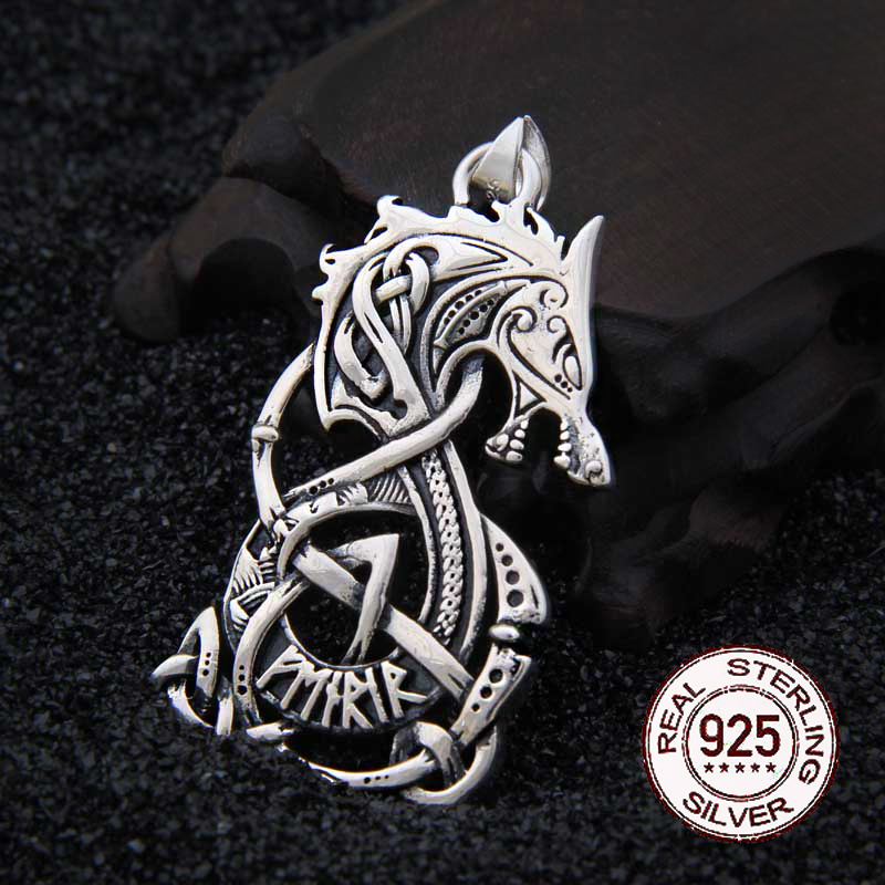 925 Sterling Silver Viking Dragon rune pendant necklace with real leather chain and keel chain as
