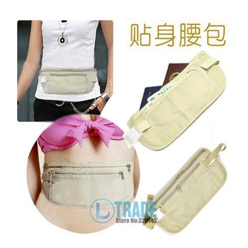 2pcs/lot Safe Travel Money Passport Waist PacksUltra-thin close-fitting hidden Waist BAG Strap Holders Wallets Purse A156