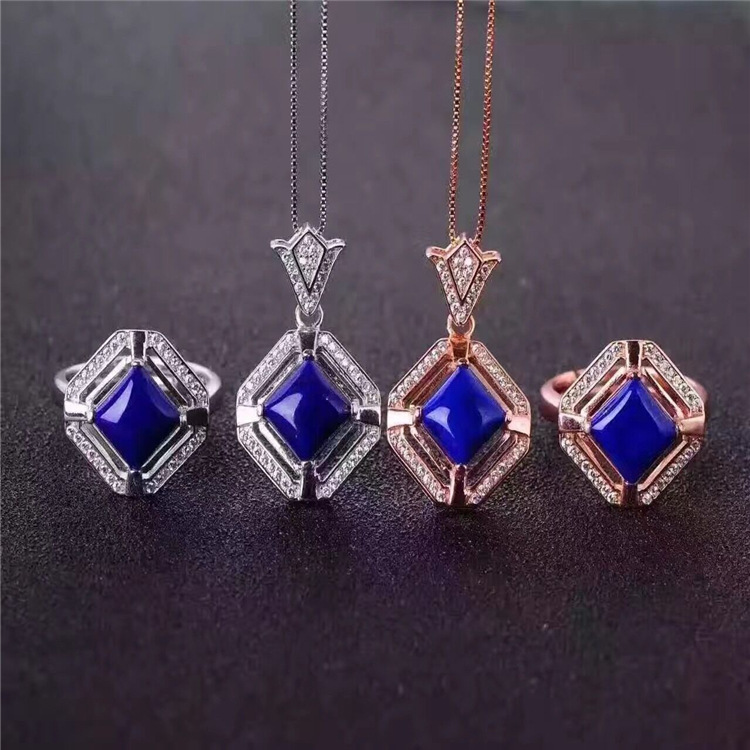 Natural lapis lazuli Earrings Ring Necklace Set inlaid jewelry wholesale S925 silver pure free shipping