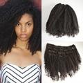 Afro rizado rizado Clip en extensiones de cabello cabeza llena de Color Natural 120 g virgen birmano rizado rizado Clip en extensiones de cabello humano