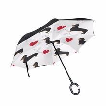 Colorful Background Dachshund Dog Seamless Creative C-Hook Handle Reverse Folding Double Layer Windproof Rainy Sunny Umbrella