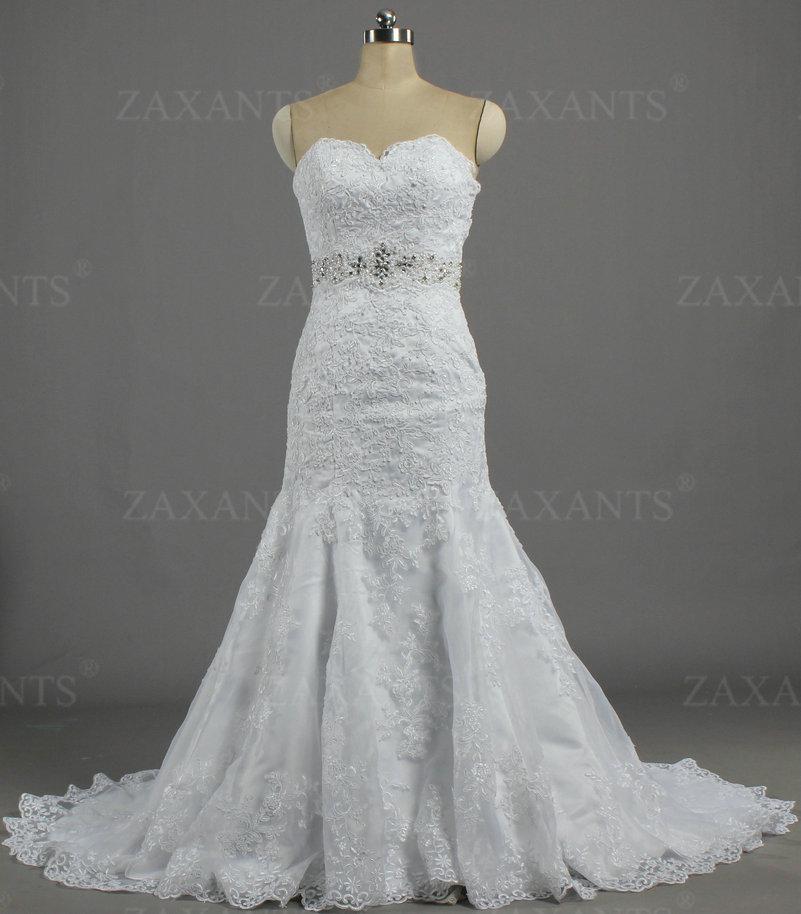W1441 Elegant Crystal Rhinestone Sashes Lace Bridal