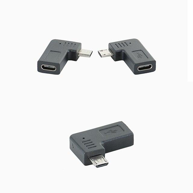 Adaptateur convertisseur USB type-c à Micro en forme de L 90 degrés Angle gauche droit Type C à connecteur Micro USB M/F femelle ou mâle