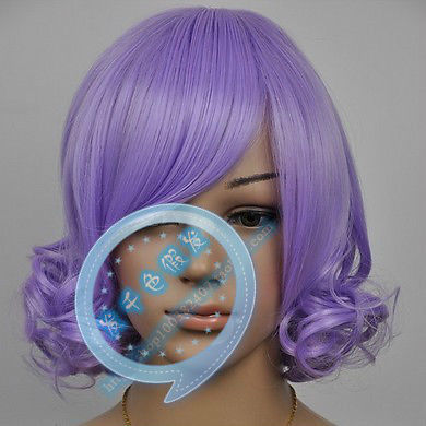 Hot heat resistant Kanekalon Party hair FREE SHIPPING>>cos wig Purple Wig to Close the Face Curls