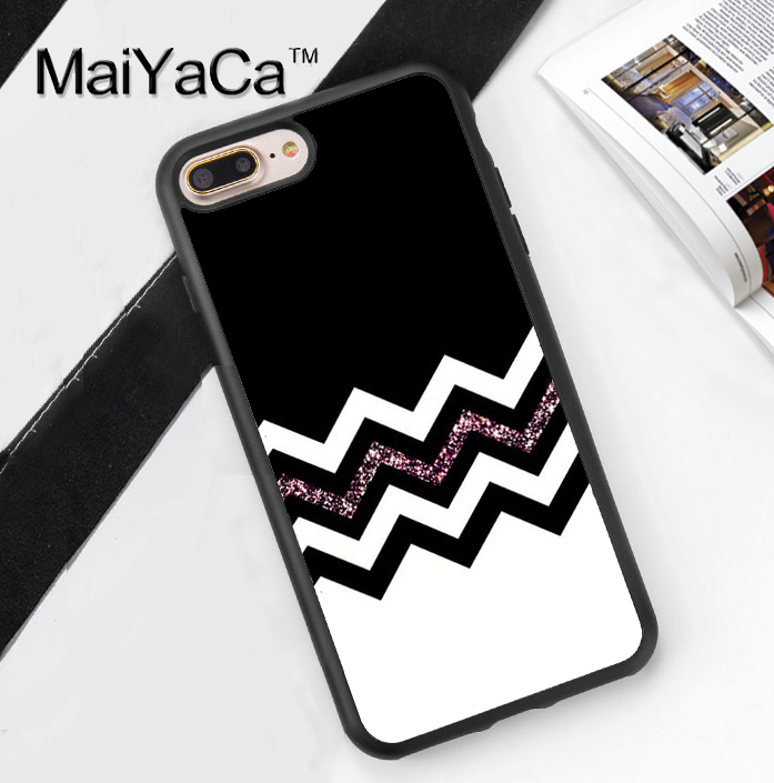 Pink sparkle chevron Print Soft TPU Skin Mobile Phone Case Funda For iPhone 7 7 Plus 6 6S Plus 5 5S 5C SE 4 4S Back Cover Shell