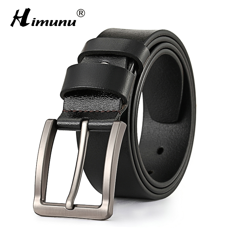 Himunu Men Belts Luxury Genuine Leather Belt For Men Cowskin Leather Strap Male Vintage Pin Buckle Belts For Jeans