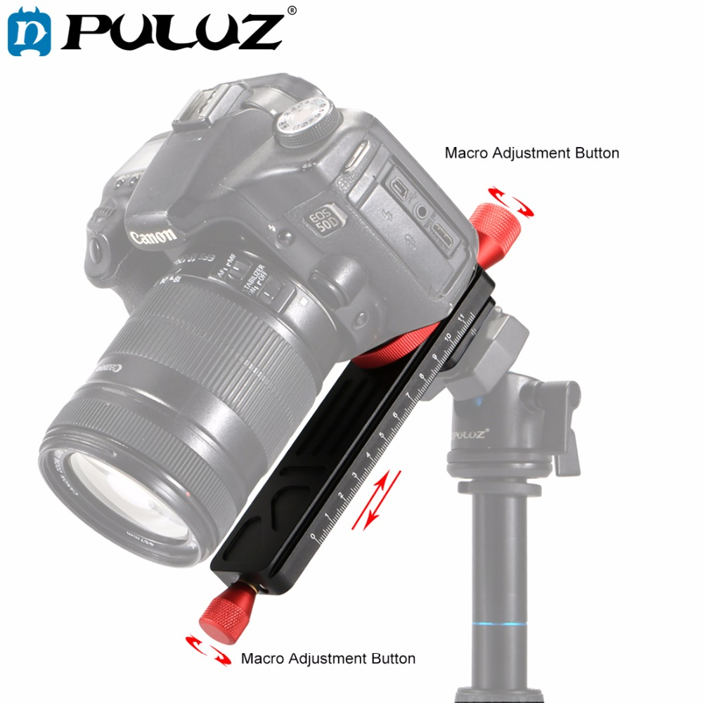 PULUZ Macro Focusing Rail Slider Close-up Shooting Tripod Head Quick Release Plate Holder with 1/4Screw