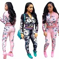 Fashion women jumpsuit 2016 new autumn High-quality digital printing long sleeve regular two piece bodycon jumpsuit