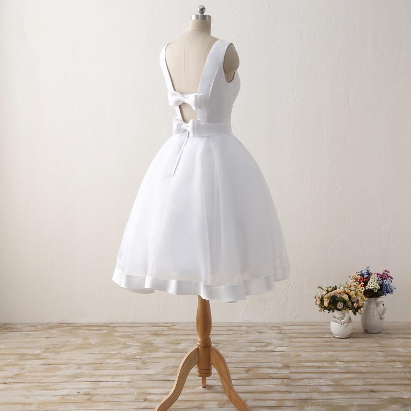 Simple Cheap Short Wedding Dresses 2017 White Knee-Length Wedding Bridal Gowns Sleeveless Scoop Neck Bow Back Robe De Mariage 5