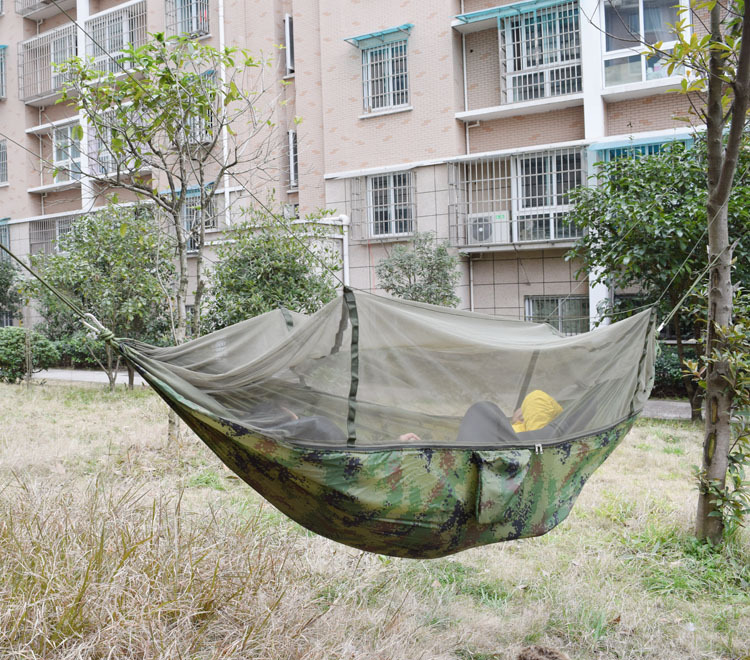 SWIFT 250x135cm Portable Camouflage High Strength Parachute Nylon Camping Mosquito Hammock With Mosquito Nets
