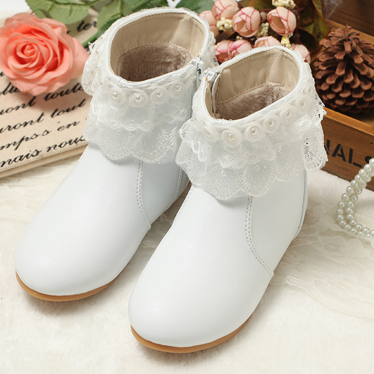 2017 New Children Princess Lace Snow Boots Kids Anti-Skid Tendon Soles Genunie leather Warm Shoes with fur Princess girls boots2017 New Children Princess Lace Snow Boots Kids Anti-Skid Tendon Soles Genunie leather Warm Shoes with fur Princess girls boots