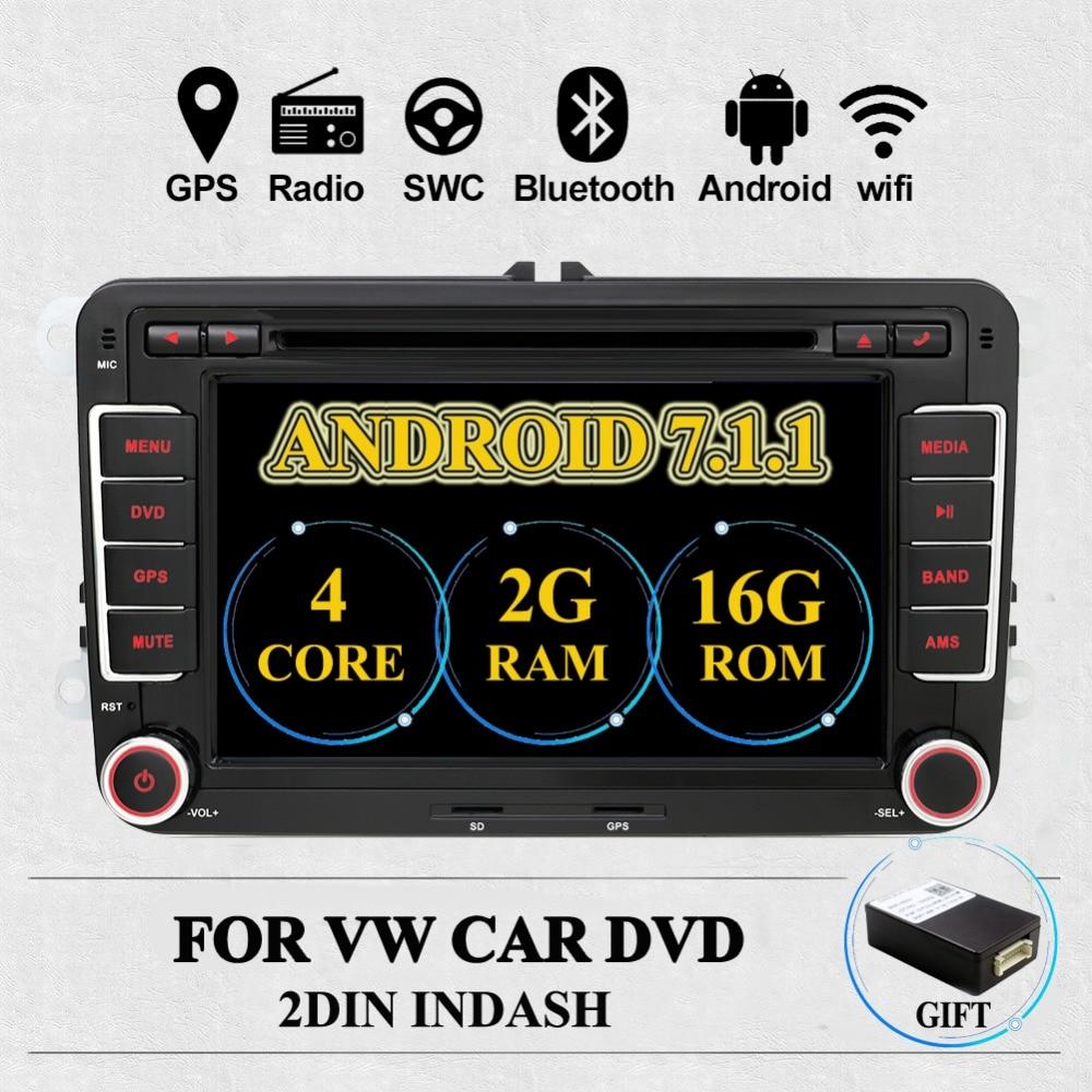 2Din Android 7,1 Car Audio reproductor de DVD GPS Radio para VW GOLF 6 Polo Bora JETTA B6 PASSAT Tiguan SKODA OCTAVIA 3G OBD opcional