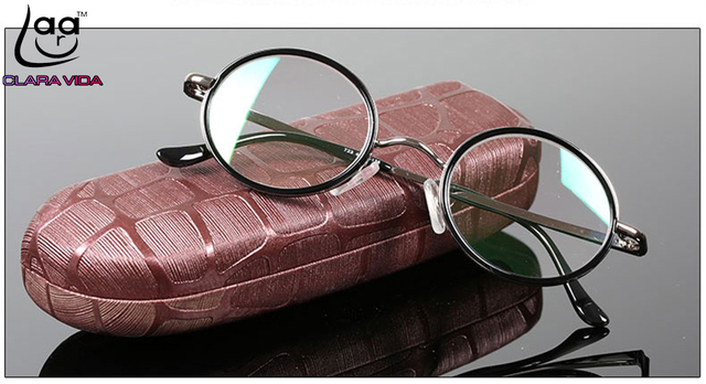= CLARA VIDA = classic Retro round Reading glasses high-quality alloy black luxury frame with case  +1 +1.5 +2 +2.5 +3 +3.5 +4