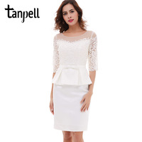 Tanpell Ivory Short Cocktail Dress Half Sleeves Scoop Knee Length Bow Dress Black Lace Sheath Zipper