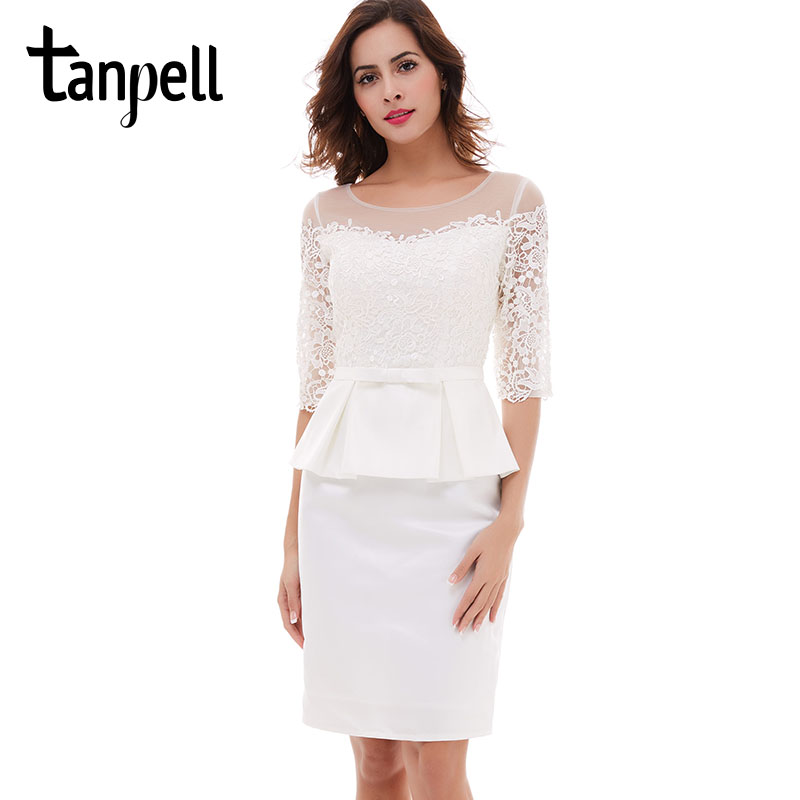 Tanpell ivory short cocktail dress half sleeves scoop knee length bow dress black lace sheath zipper up cocktail party dresses