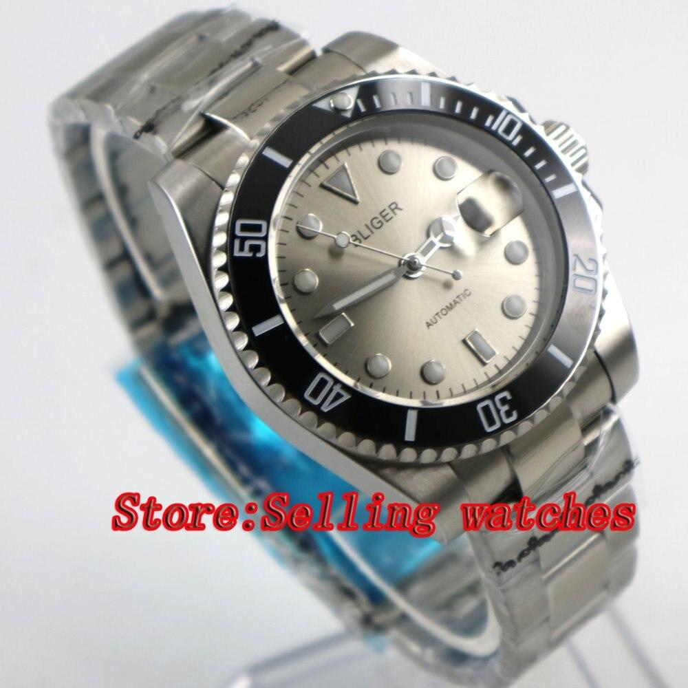 лучшая цена Bliger 40mm gray dial luminous saphire glass black Ceramic Bezel Automatic movement men's watch men