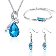 Jewelry Sets New 2014 Crystal Jewelry Sets Pendants & Necklaces Stud Earring Bracelet Bangles Silver Chain Plated For Women Gift(China)