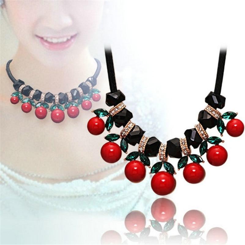 6671902d6325 Grande cereza colgante Collares para las mujeres 2017 gargantilla collar  cristal declaración collar Accesorios nueva llegada