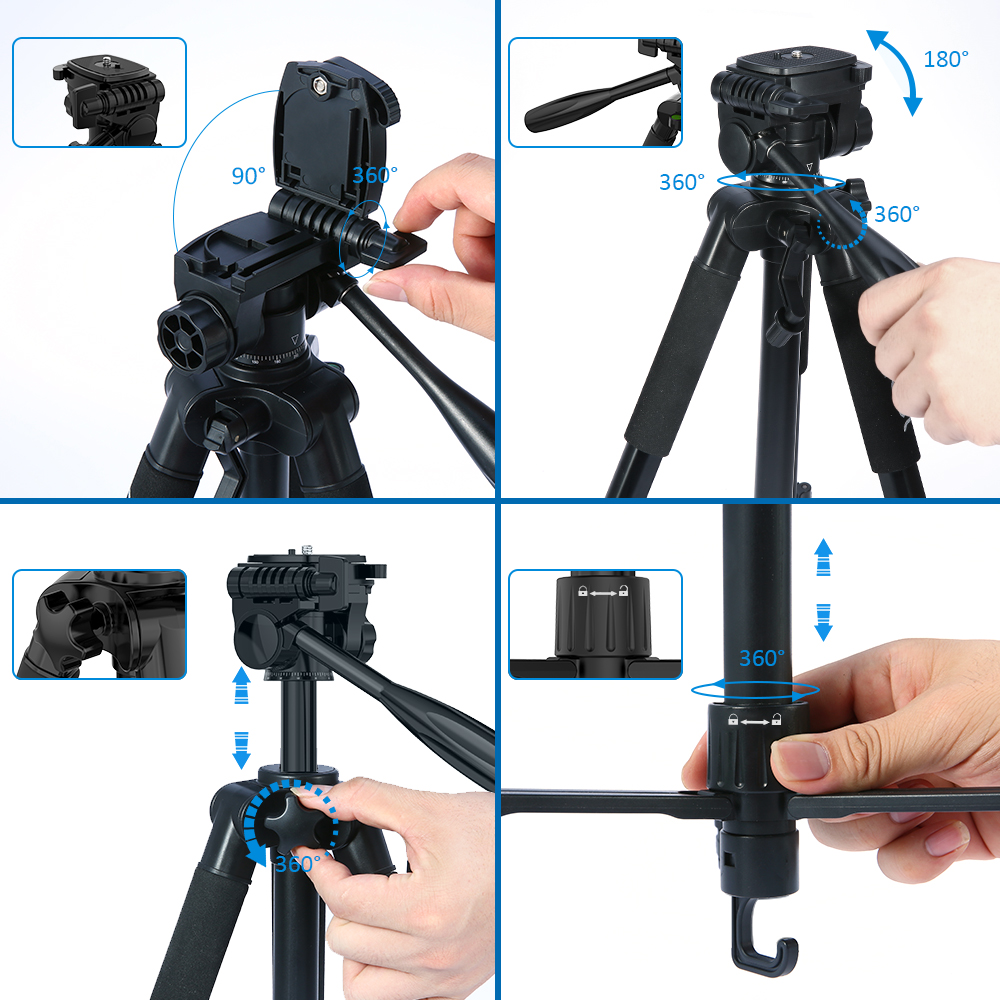 Portable Photography Tripod Lightweight Phone Tripod Color : Black, Size : One Size 59.5 Inch Aluminum Compact Tripods for Smartphone /& Camera
