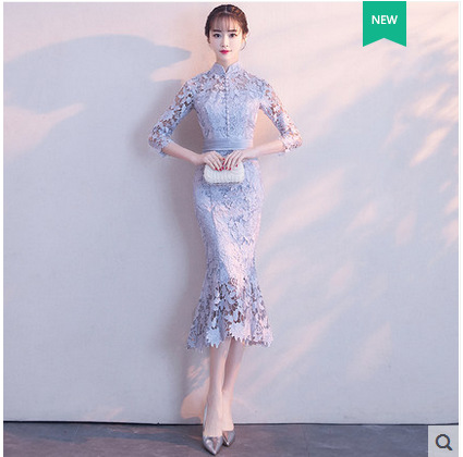 2019 New Long Chinese Style Collar Elegant Retro Lace Cheongsam2019 New Long Chinese Style Collar Elegant Retro Lace Cheongsam