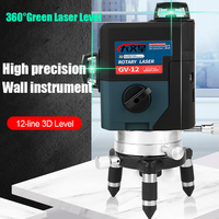 3D 12 Lines Green Laser Level with 4000 mah Battery Graus Lazer Level 360 Profissional Livella Lasers Construction Tools